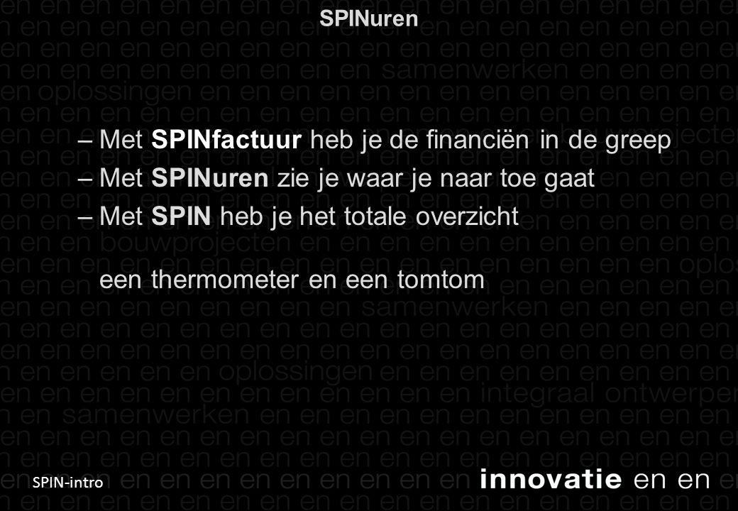 SPIN-intro SPINuren –Met SPINfactuur heb je de financiën in de greep –Met SPINuren zie je waar je naar toe gaat –Met SPIN heb je het totale overzicht een thermometer en een tomtom