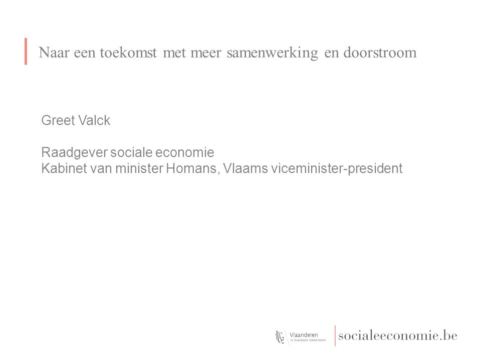 Greet Valck Raadgever sociale economie Kabinet van minister Homans, Vlaams viceminister-president Naar een toekomst met meer samenwerking en doorstroom