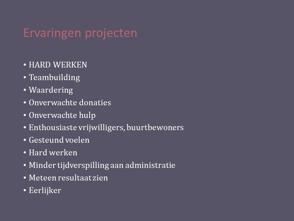 Ervaringen projecten HARD WERKEN Teambuilding Waardering Onverwachte donaties Onverwachte hulp Enthousiaste vrijwilligers, buurtbewoners Gesteund voel