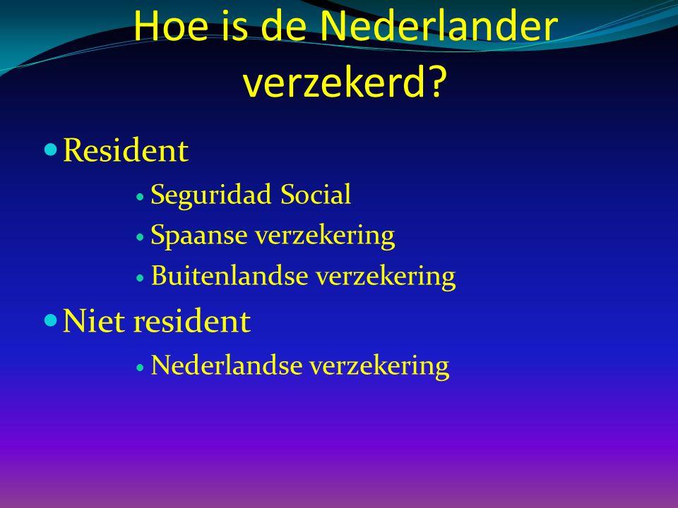 Hoe is de Nederlander verzekerd? Resident Seguridad Social Spaanse verzekering Buitenlandse verzekering Niet resident Nederlandse verzekering