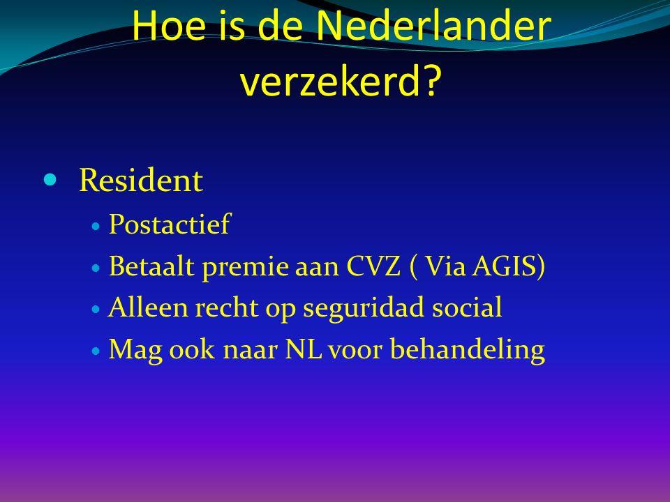 Resident Postactief Betaalt premie aan CVZ ( Via AGIS) Alleen recht op seguridad social Mag ook naar NL voor behandeling Hoe is de Nederlander verzekerd?
