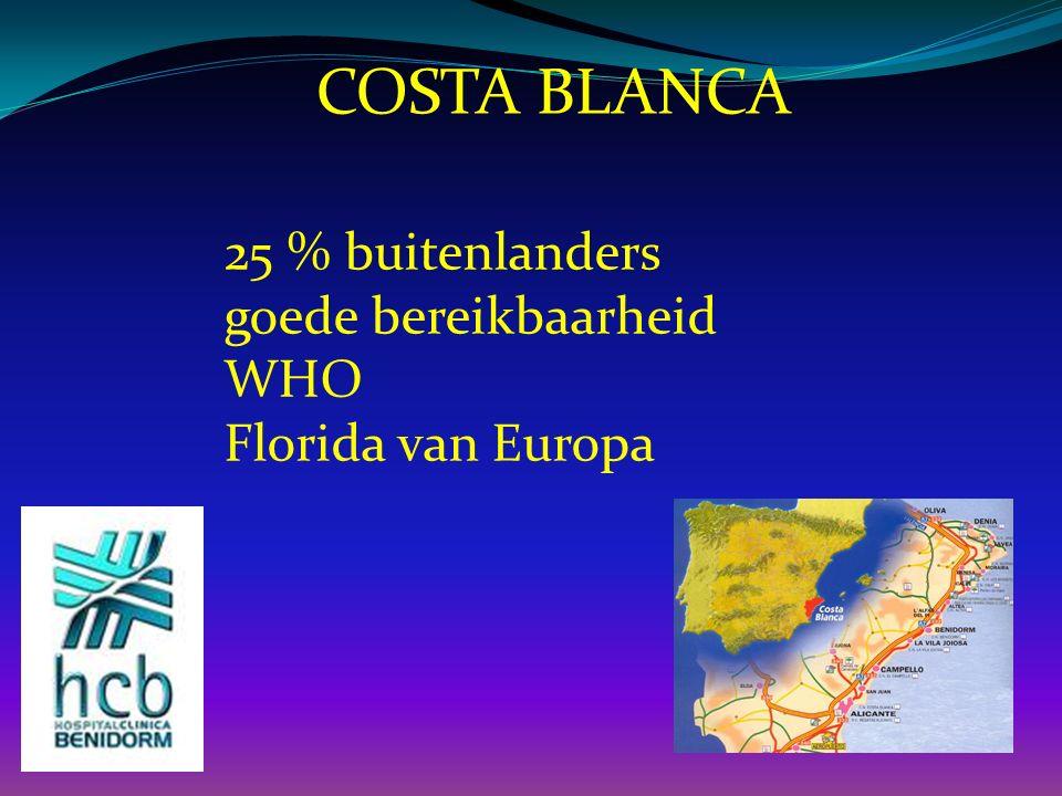 25 % buitenlanders goede bereikbaarheid WHO Florida van Europa COSTA BLANCA