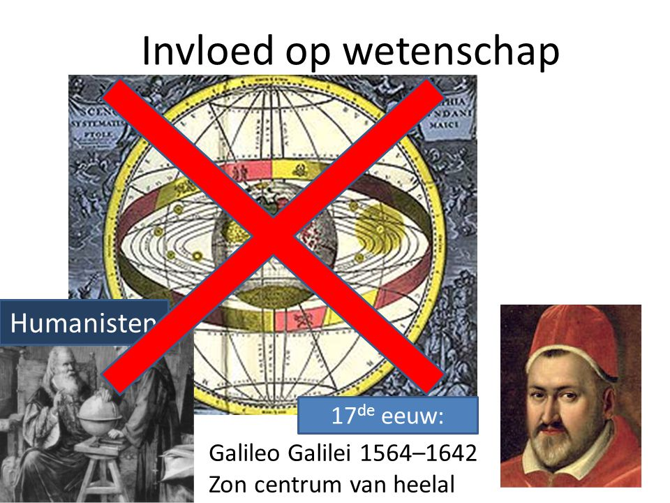 Invloed op wetenschap Galileo Galilei 1564–1642 Zon centrum van heelal Humanisten 17 de eeuw: