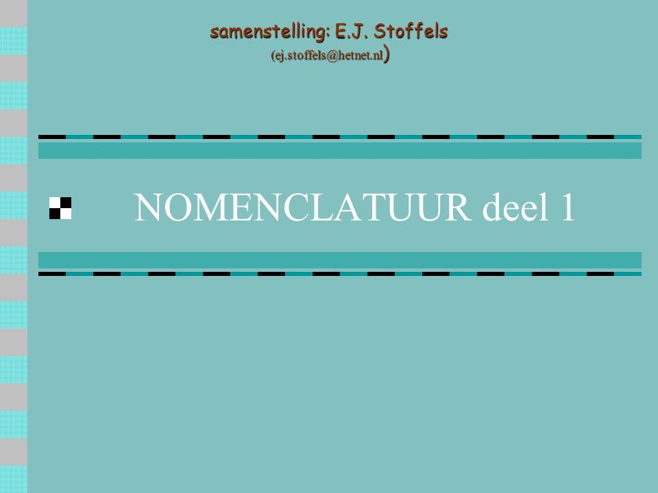 NOMENCLATUUR deel 1 samenstelling: E.J. Stoffels (ej.stoffels@hetnet.nl ) (ej.stoffels@hetnet.nl )
