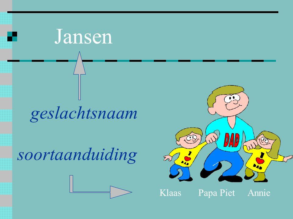 Jansen Papa PietKlaasAnnie soortaanduiding geslachtsnaam