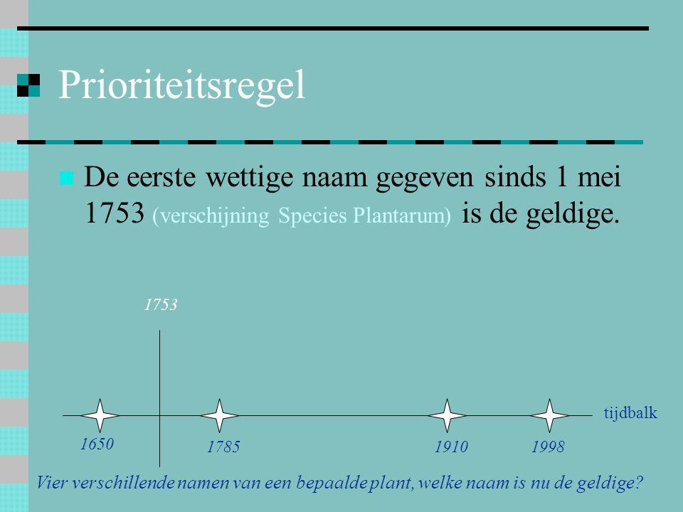 Prioriteitsregel De eerste wettige naam gegeven sinds 1 mei 1753 (verschijning Species Plantarum) is de geldige. 1753 1650 178519101998 Vier verschill