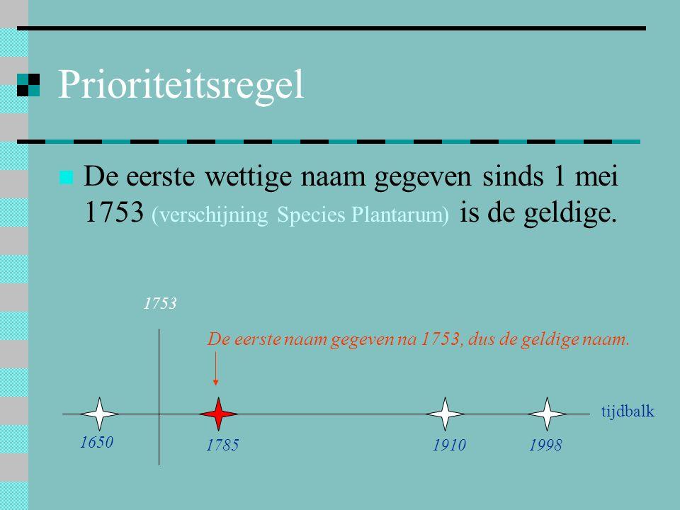 Prioriteitsregel De eerste wettige naam gegeven sinds 1 mei 1753 (verschijning Species Plantarum) is de geldige. 1753 1650 178519101998 tijdbalk De ee