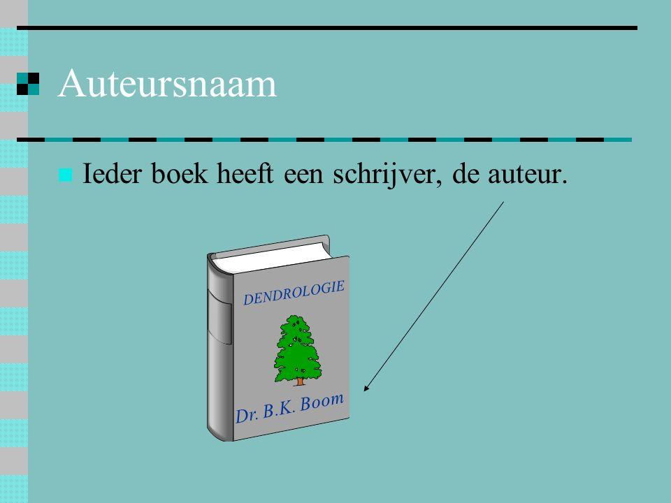 Auteursnaam Ieder boek heeft een schrijver, de auteur. DENDROLOGIE Dr. B.K. Boom