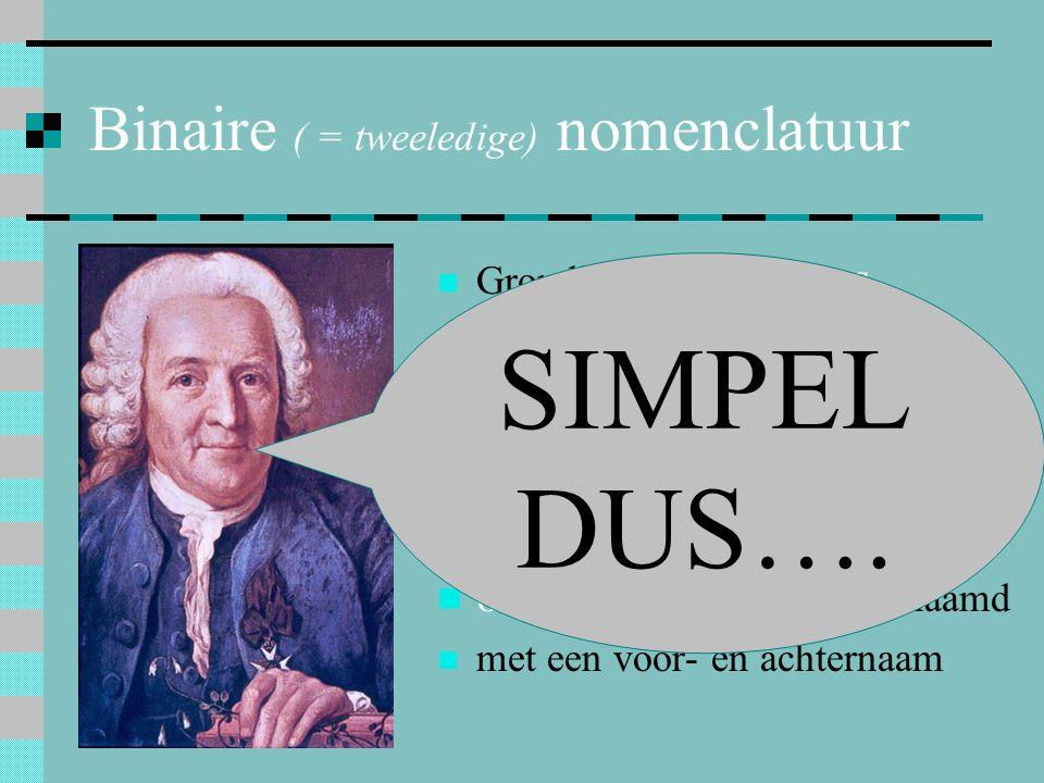 Binaire ( = tweeledige) nomenclatuur Grondlegger: Linnaeus = Carl von Linné Op 1 mei 1753 verscheen het boek: Species Plantarum = de plantensoorten 80
