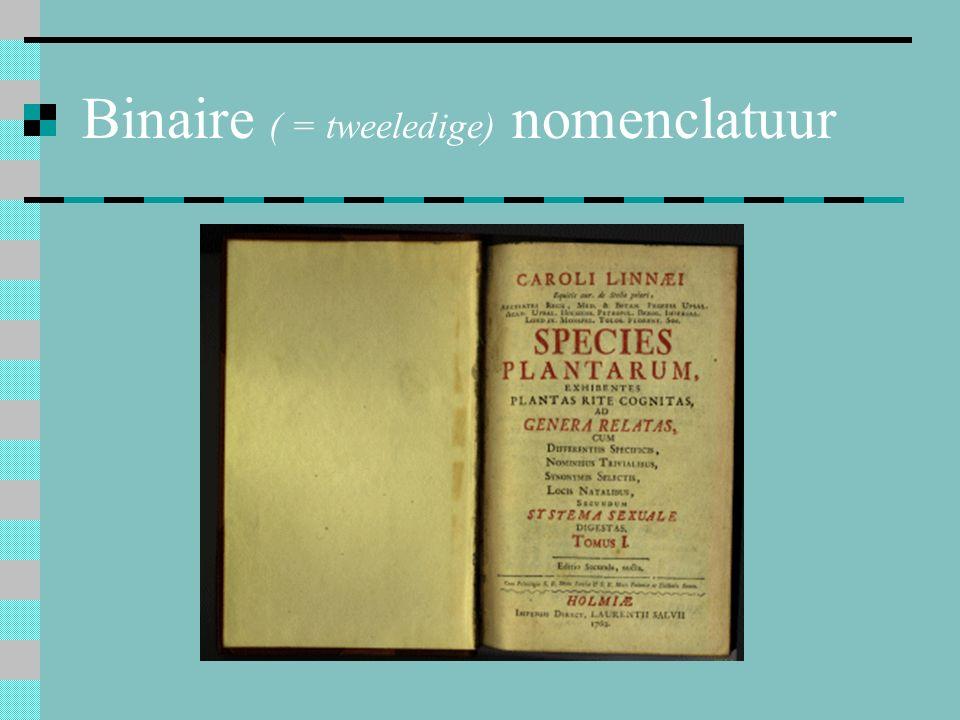 Binaire ( = tweeledige) nomenclatuur
