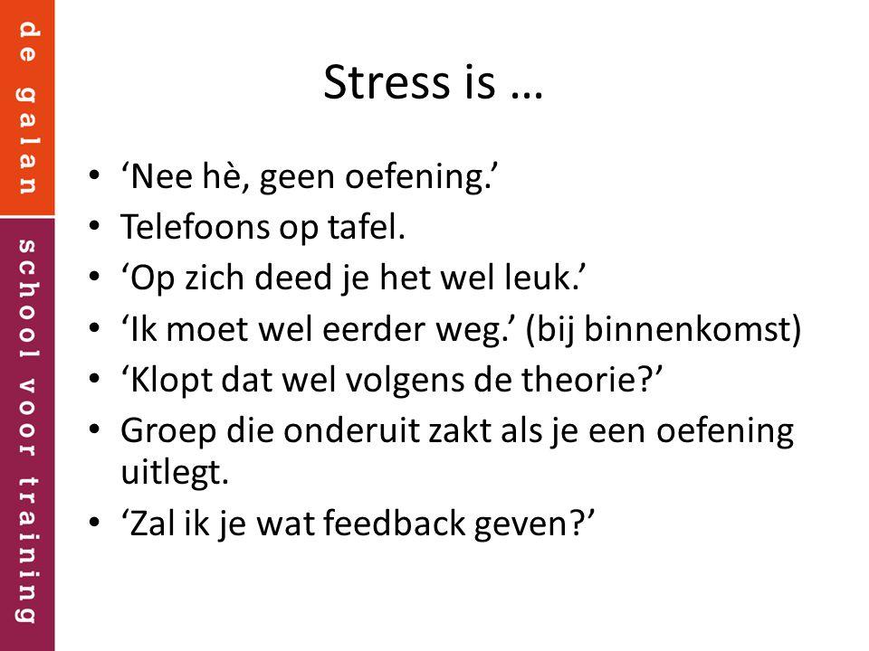 Stress is … 'Nee hè, geen oefening.' Telefoons op tafel. 'Op zich deed je het wel leuk.' 'Ik moet wel eerder weg.' (bij binnenkomst) 'Klopt dat wel vo
