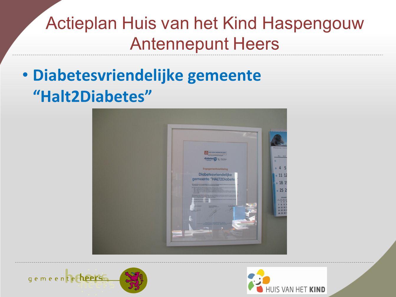 Actieplan Huis van het Kind Haspengouw Antennepunt Heers Diabetesvriendelijke gemeente Halt2Diabetes