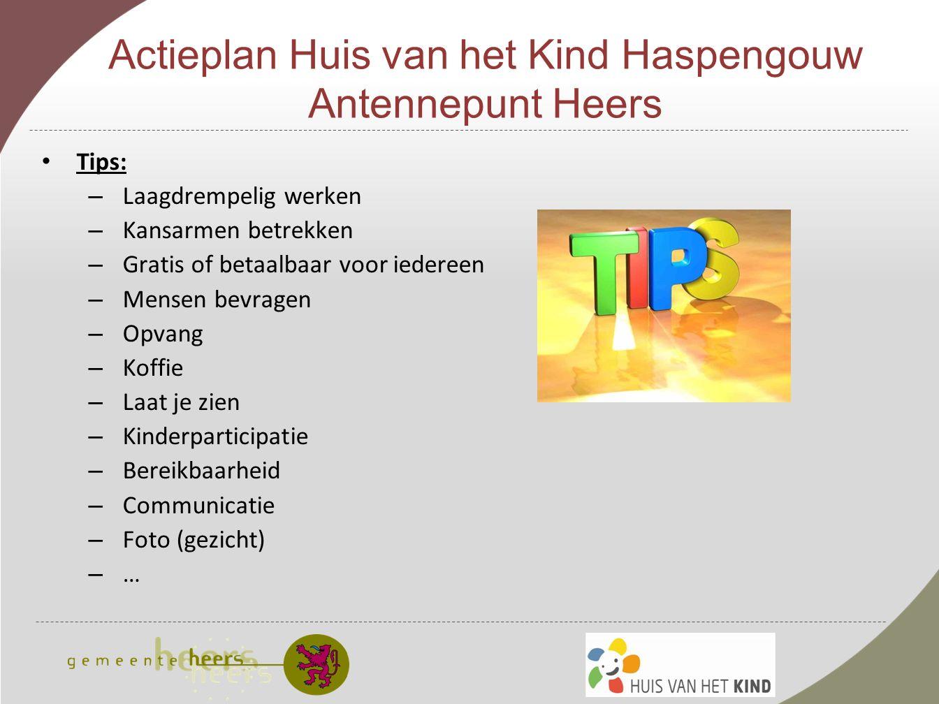 Actieplan Huis van het Kind Haspengouw Antennepunt Heers 3.