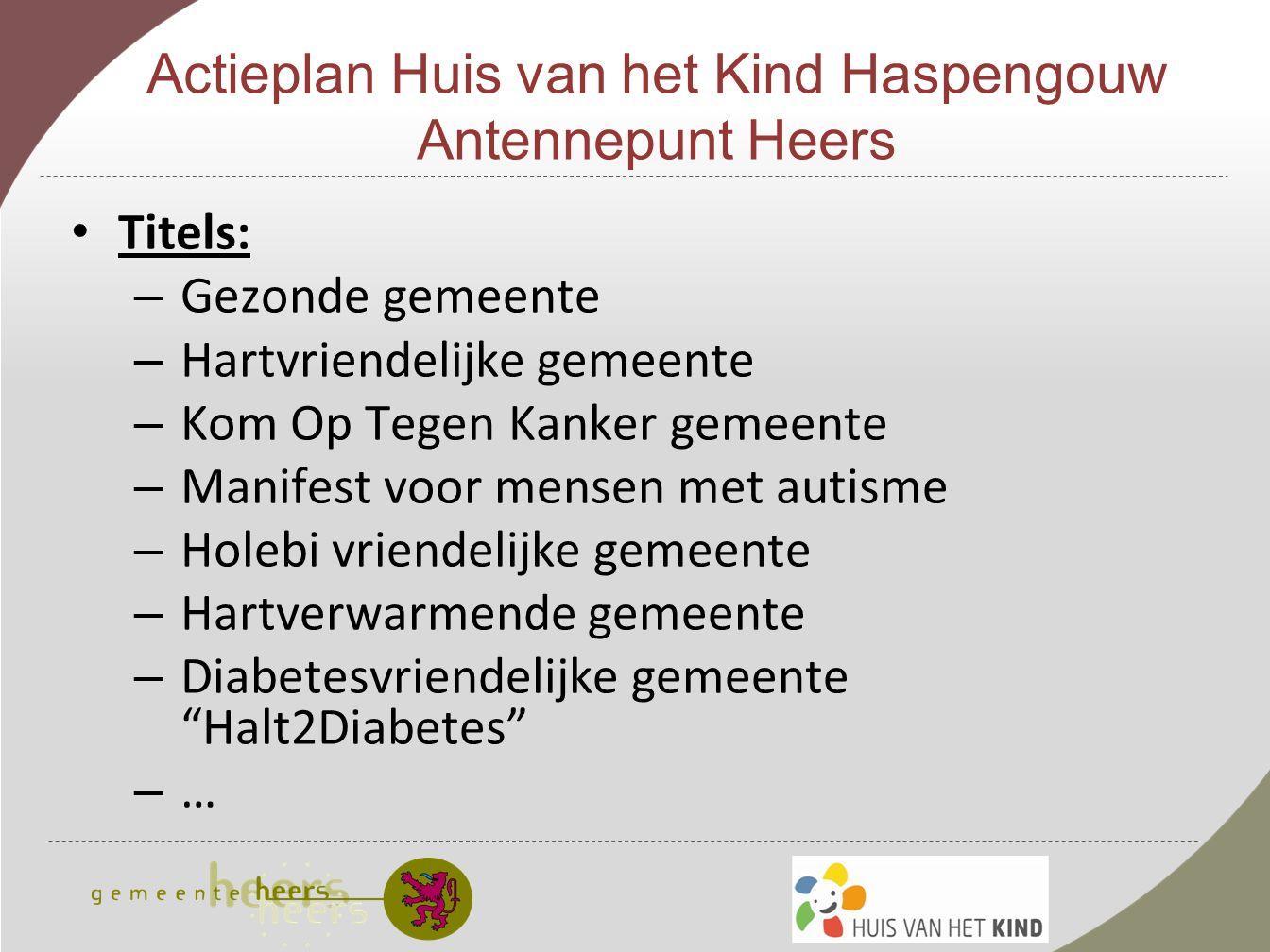 Actieplan Huis van het Kind Haspengouw Antennepunt Heers Knutselfestijn/koffiestop