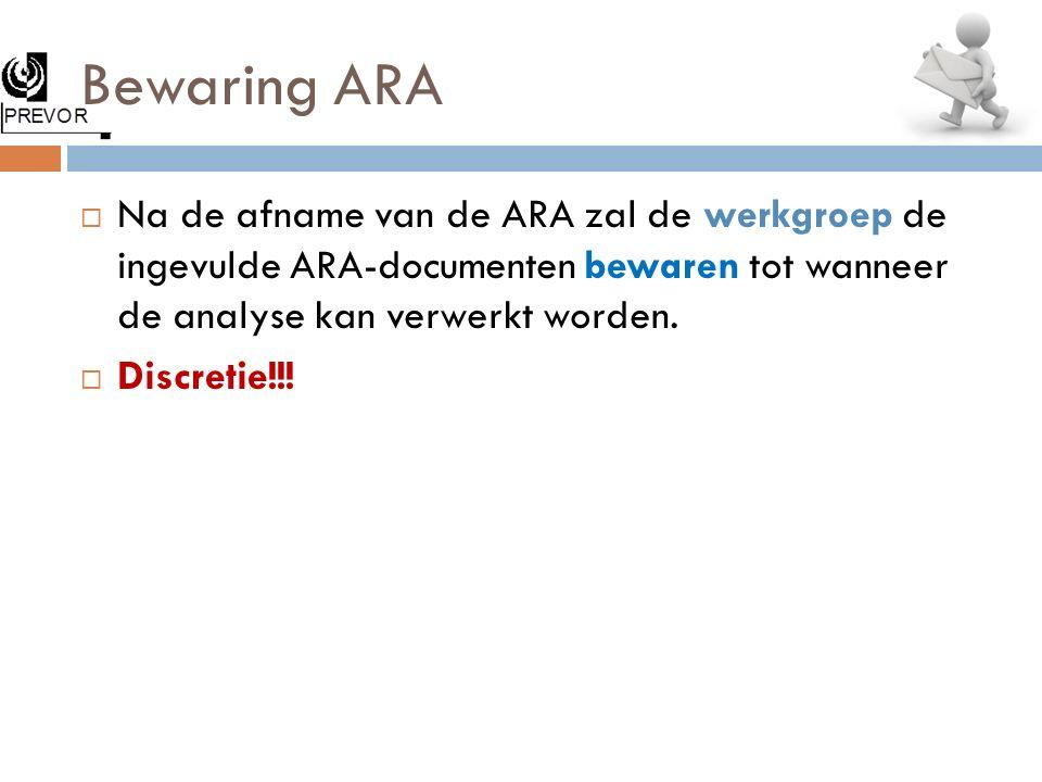 Bewaring ARA  Na de afname van de ARA zal de werkgroep de ingevulde ARA-documenten bewaren tot wanneer de analyse kan verwerkt worden.  Discretie!!!