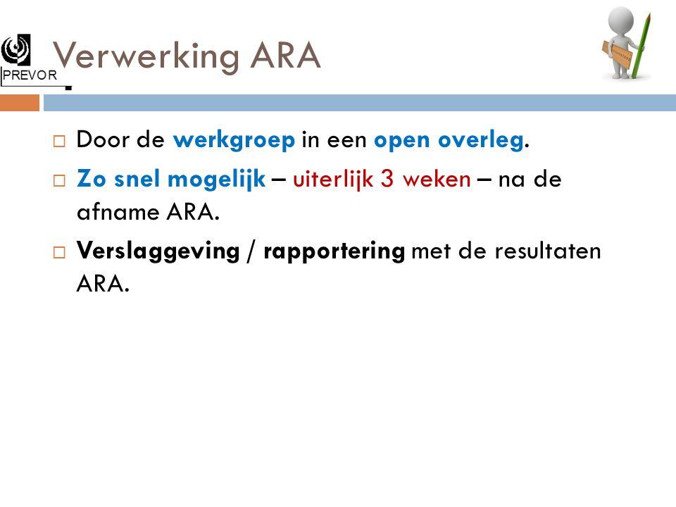 Verwerking ARA  Door de werkgroep in een open overleg.  Zo snel mogelijk – uiterlijk 3 weken – na de afname ARA.  Verslaggeving / rapportering met