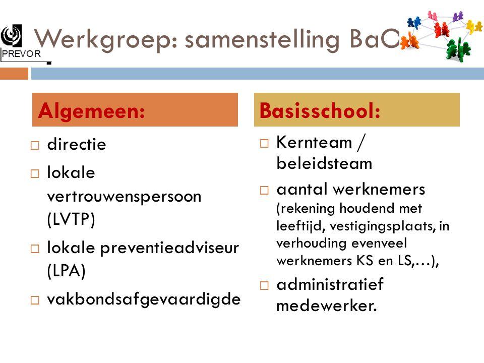 Werkgroep: samenstelling BaO  directie  lokale vertrouwenspersoon (LVTP)  lokale preventieadviseur (LPA)  vakbondsafgevaardigde  Kernteam / belei