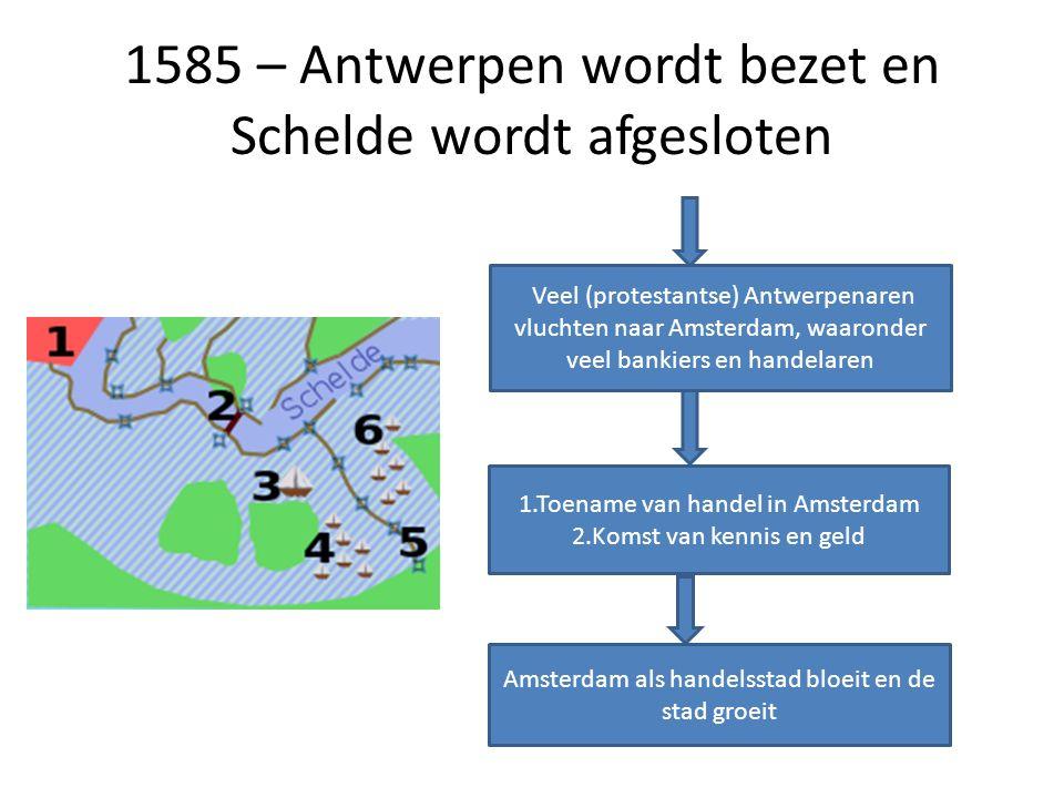 1585 – Antwerpen wordt bezet en Schelde wordt afgesloten Veel (protestantse) Antwerpenaren vluchten naar Amsterdam, waaronder veel bankiers en handela