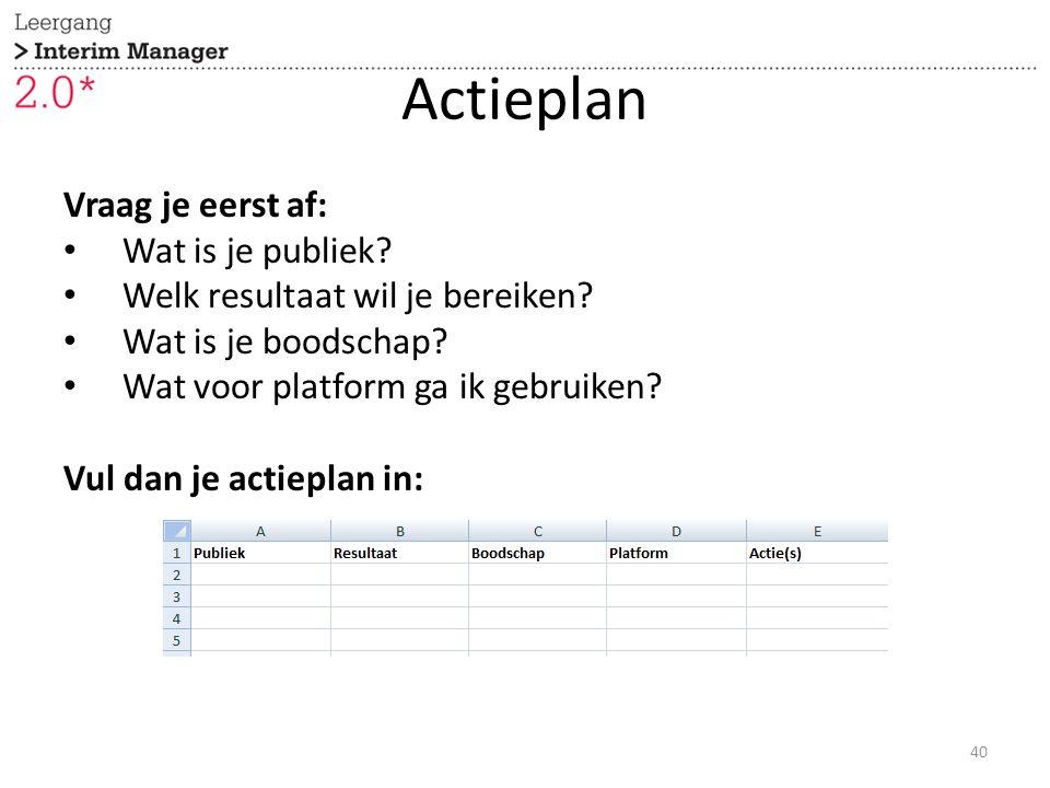 Actieplan Vraag je eerst af: Wat is je publiek. Welk resultaat wil je bereiken.