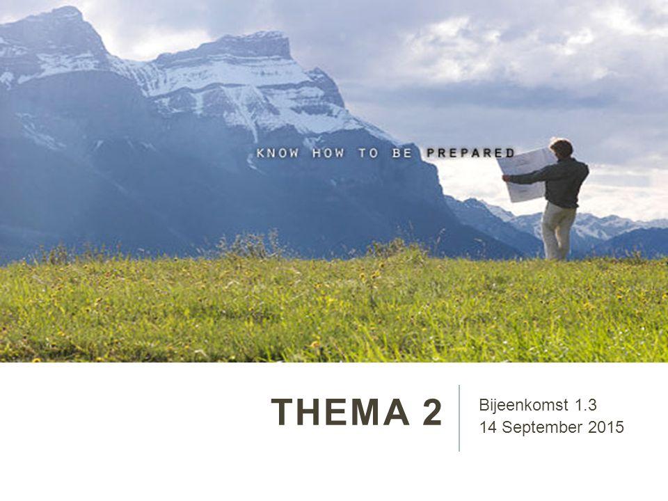 THEMA 2 Bijeenkomst 1.3 14 September 2015