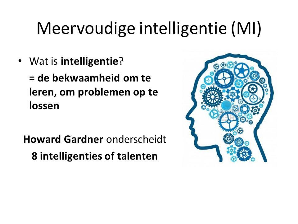 Meervoudige intelligentie (MI) Wat is intelligentie? = de bekwaamheid om te leren, om problemen op te lossen Howard Gardner onderscheidt 8 intelligent