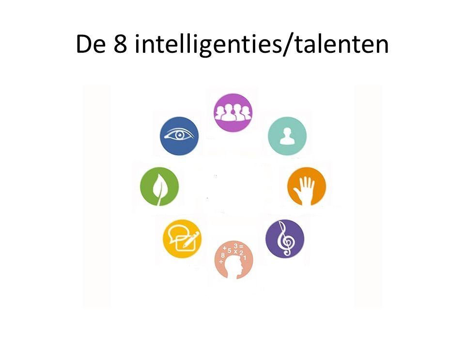 Intelligenties testen Kant-en-klare testen: www.migent.be http://www.intelligentietest.nl/meervoudige-intelligentie-volgens-howard- gartner.html http://www.intelligentietest.nl/meervoudige-intelligentie-volgens-howard- gartner.html Meervoudige Intelligentie – Het complete MI boek – Dr.