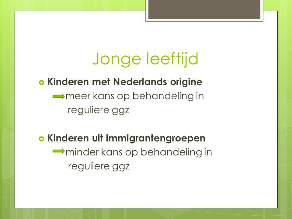 Jonge leeftijd  Kinderen met Nederlands origine meer kans op behandeling in reguliere ggz  Kinderen uit immigrantengroepen minder kans op behandeling in reguliere ggz