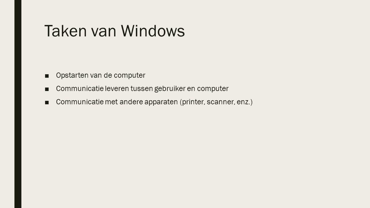 Taken van Windows ■Opstarten van de computer ■Communicatie leveren tussen gebruiker en computer ■Communicatie met andere apparaten (printer, scanner, enz.)