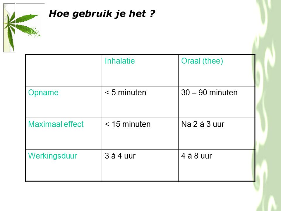 InhalatieOraal (thee) Opname< 5 minuten30 – 90 minuten Maximaal effect< 15 minutenNa 2 à 3 uur Werkingsduur3 à 4 uur4 à 8 uur Hoe gebruik je het