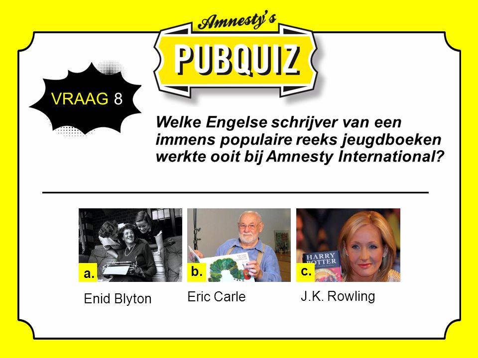 VRAAG 8 Welke Engelse schrijver van een immens populaire reeks jeugdboeken werkte ooit bij Amnesty International.