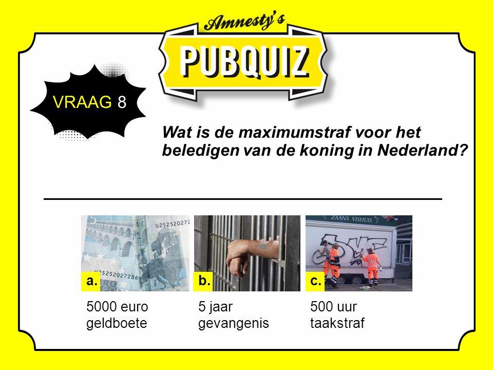 VRAAG 8 Wat is de maximumstraf voor het beledigen van de koning in Nederland.