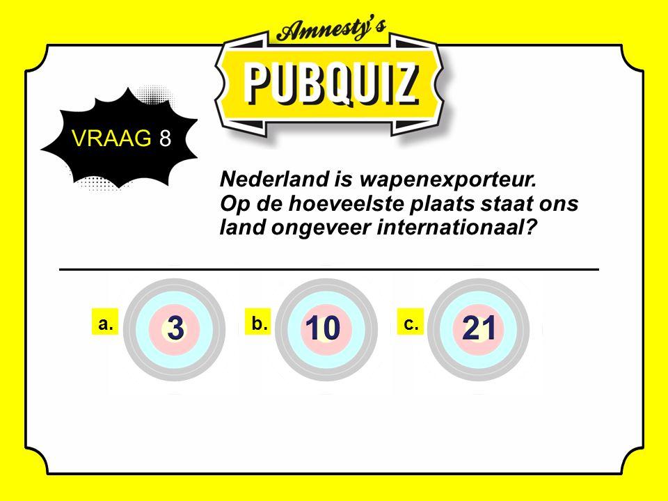VRAAG 8 Nederland is wapenexporteur.