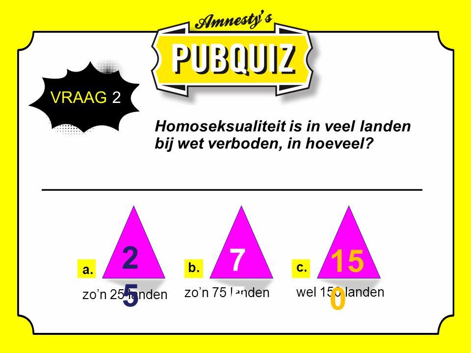 VRAAG 2 Homoseksualiteit is in veel landen bij wet verboden, in hoeveel.