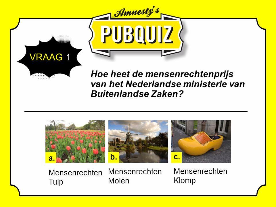 VRAAG 1 Hoe heet de mensenrechtenprijs van het Nederlandse ministerie van Buitenlandse Zaken.