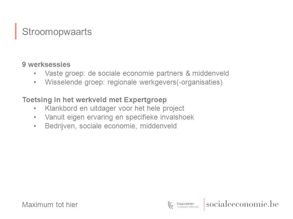 Stroomopwaarts 9 werksessies Vaste groep: de sociale economie partners & middenveld Wisselende groep: regionale werkgevers(-organisaties) Toetsing in