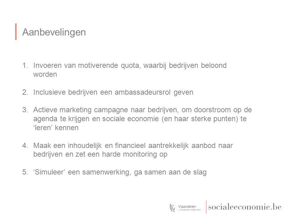 Aanbevelingen 1.Invoeren van motiverende quota, waarbij bedrijven beloond worden 2.Inclusieve bedrijven een ambassadeursrol geven 3.Actieve marketing