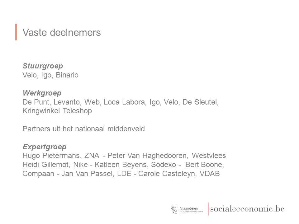 Vaste deelnemers Stuurgroep Velo, Igo, Binario Werkgroep De Punt, Levanto, Web, Loca Labora, Igo, Velo, De Sleutel, Kringwinkel Teleshop Partners uit