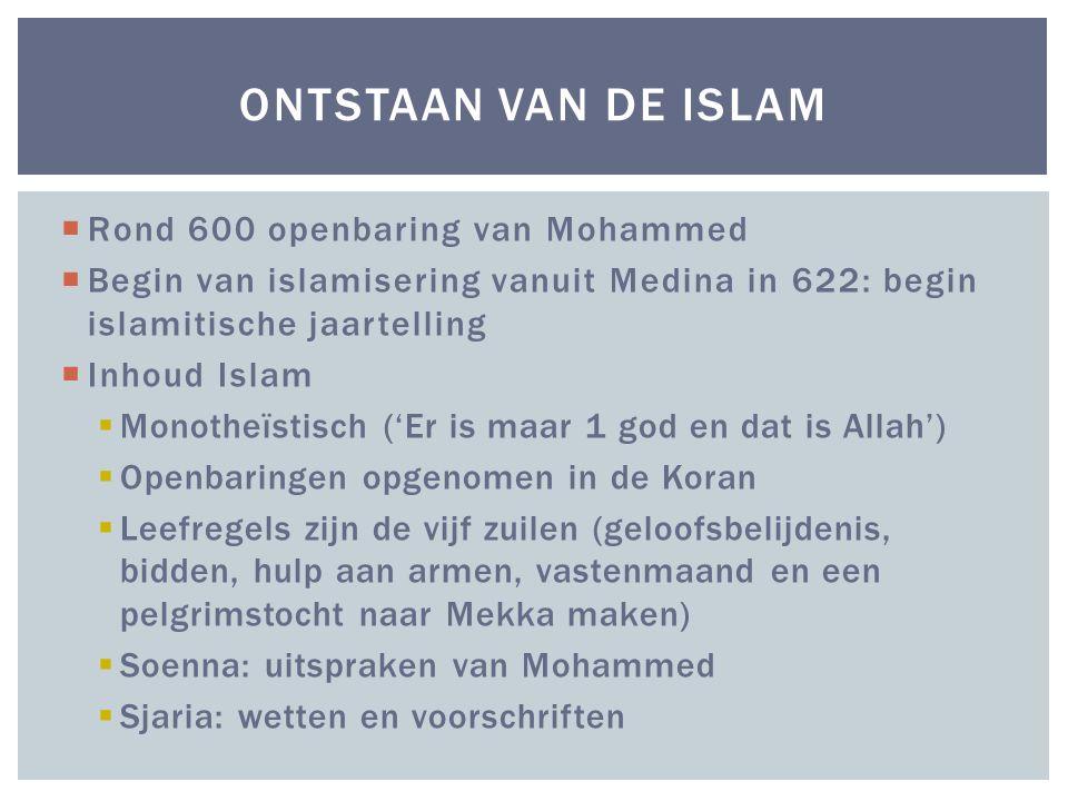  Rond 600 openbaring van Mohammed  Begin van islamisering vanuit Medina in 622: begin islamitische jaartelling  Inhoud Islam  Monotheïstisch ('Er is maar 1 god en dat is Allah')  Openbaringen opgenomen in de Koran  Leefregels zijn de vijf zuilen (geloofsbelijdenis, bidden, hulp aan armen, vastenmaand en een pelgrimstocht naar Mekka maken)  Soenna: uitspraken van Mohammed  Sjaria: wetten en voorschriften ONTSTAAN VAN DE ISLAM