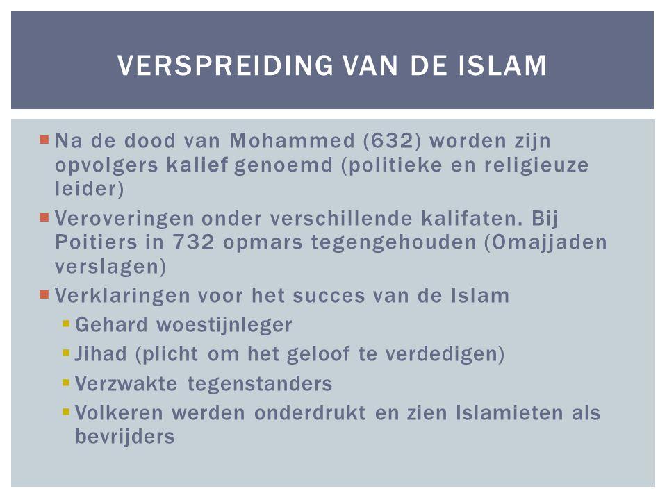  Na de dood van Mohammed (632) worden zijn opvolgers kalief genoemd (politieke en religieuze leider)  Veroveringen onder verschillende kalifaten.