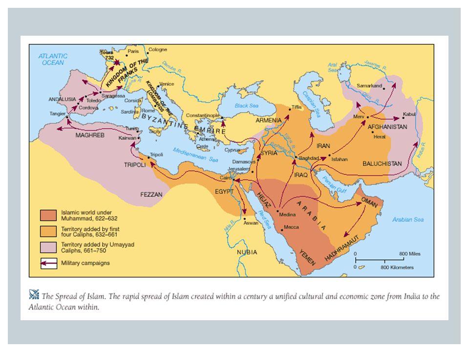  Geen bekeringsdwang  Veel ongelovigen bekeren zich vrijwillig (economische en politieke voordelen)  Speciale behandeling van Christenen en Joden (mogen geloof vrij uitoefenen in ruil voor belasting)  Door ruzie om de opvolging ontstaan er twee groepen: soennieten en de sjiieten  Ontwikkeling van cultuur en wetenschap (medisch, geografisch, astronomisch)  Op de duur valt het rijk uiteen in verschillende kalifaten (Bagdad en Cordoba/Spanje) ONTWIKKELINGEN BINNEN DE ISLAM