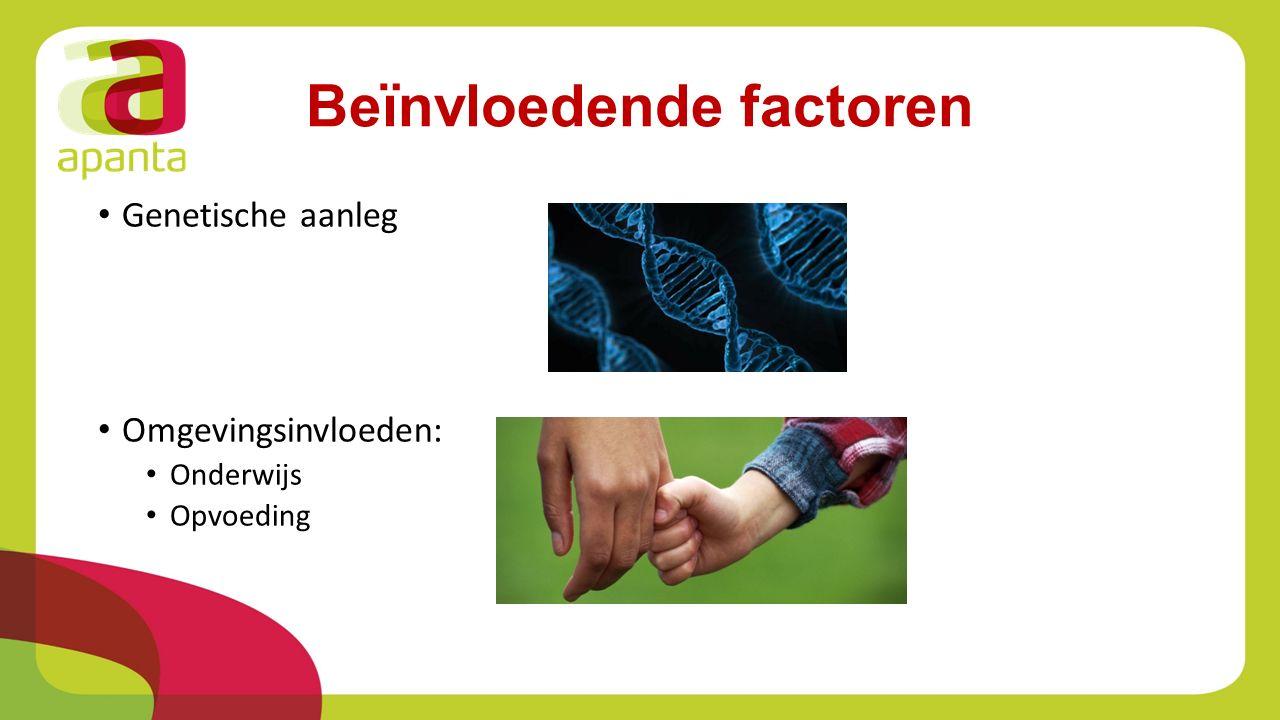 Beïnvloedende factoren Genetische aanleg Omgevingsinvloeden: Onderwijs Opvoeding