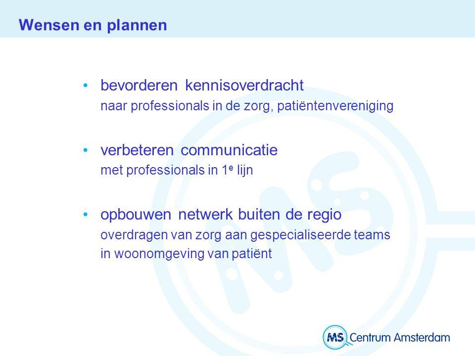 Wensen en plannen bevorderen kennisoverdracht naar professionals in de zorg, patiëntenvereniging verbeteren communicatie met professionals in 1 e lijn opbouwen netwerk buiten de regio overdragen van zorg aan gespecialiseerde teams in woonomgeving van patiënt