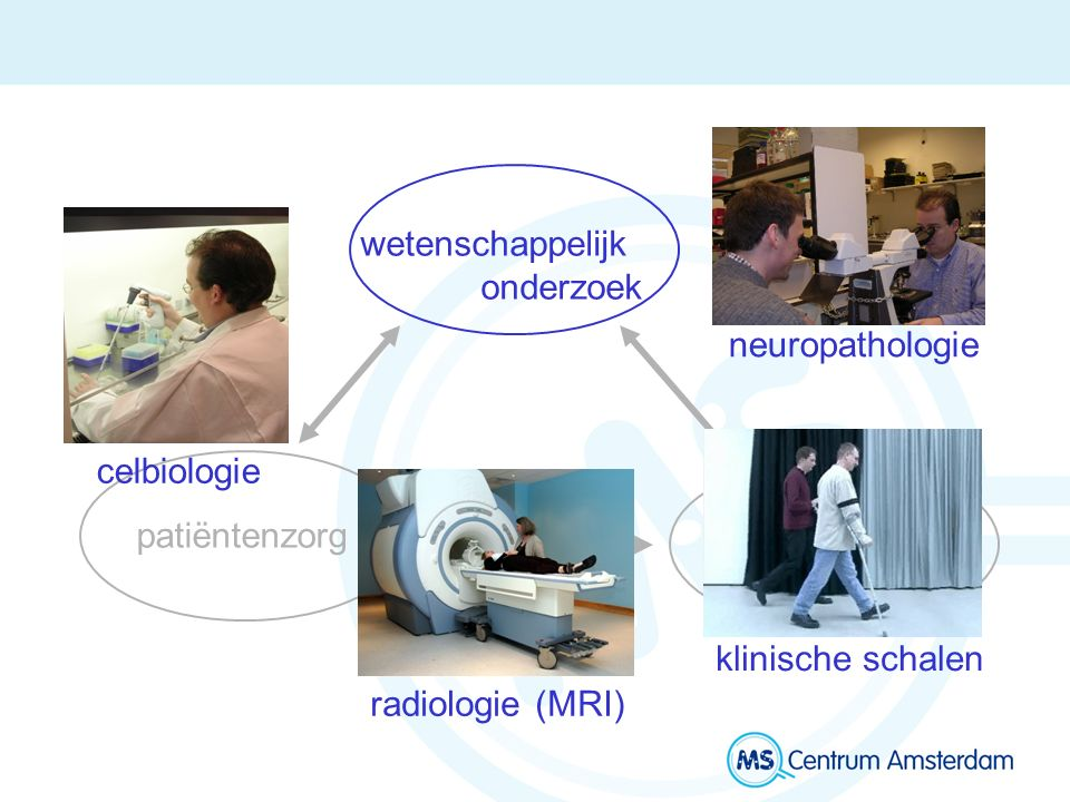 wetenschappelijk onderzoek onderwijs patiëntenzorg celbiologie radiologie (MRI) neuropathologie klinische schalen
