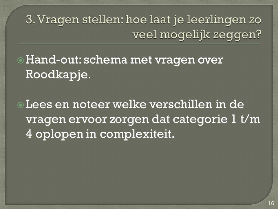  Hand-out: schema met vragen over Roodkapje.