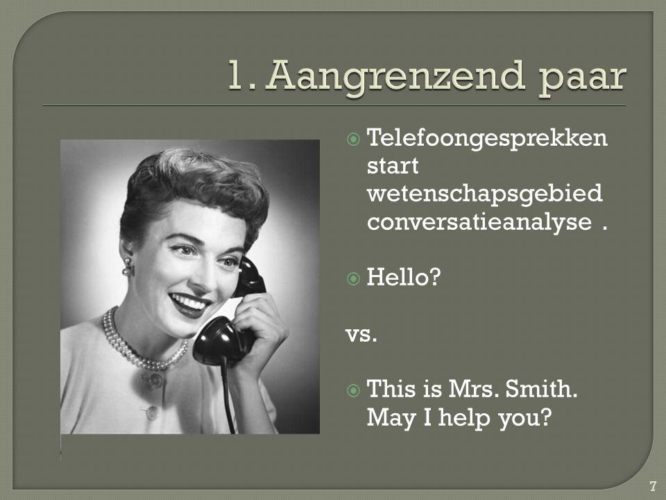  Telefoongesprekken start wetenschapsgebied conversatieanalyse.  Hello? vs.  This is Mrs. Smith. May I help you? 7