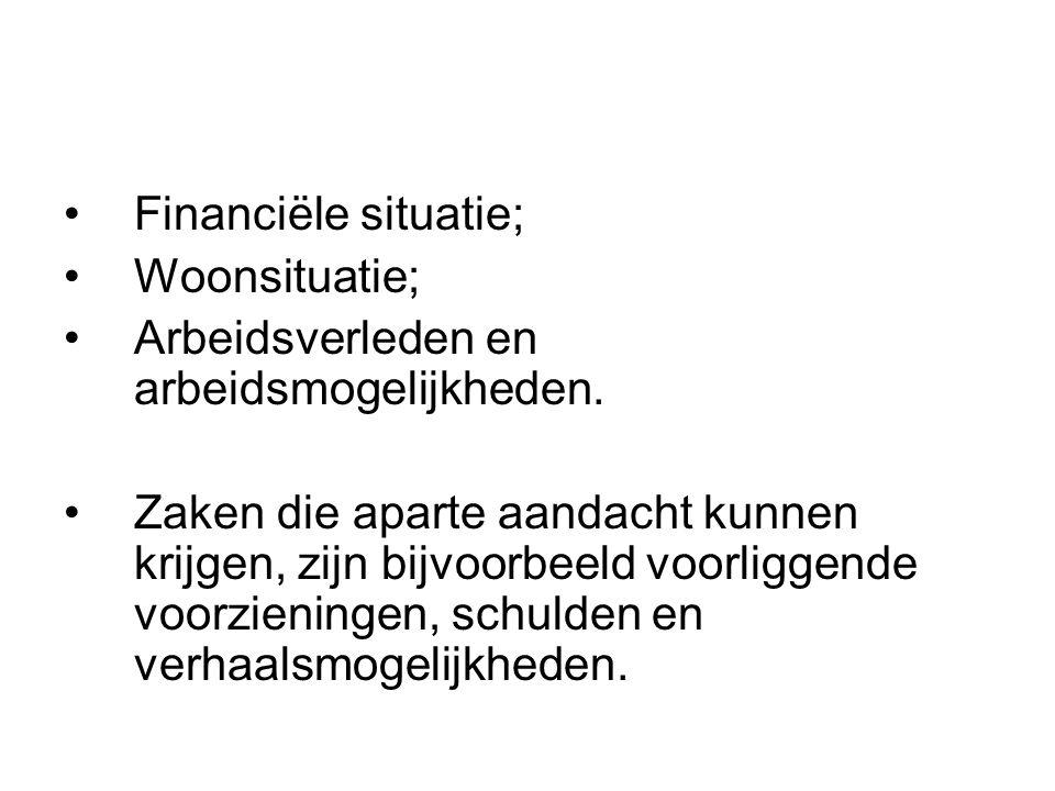 Financiële situatie; Woonsituatie; Arbeidsverleden en arbeidsmogelijkheden. Zaken die aparte aandacht kunnen krijgen, zijn bijvoorbeeld voorliggende v