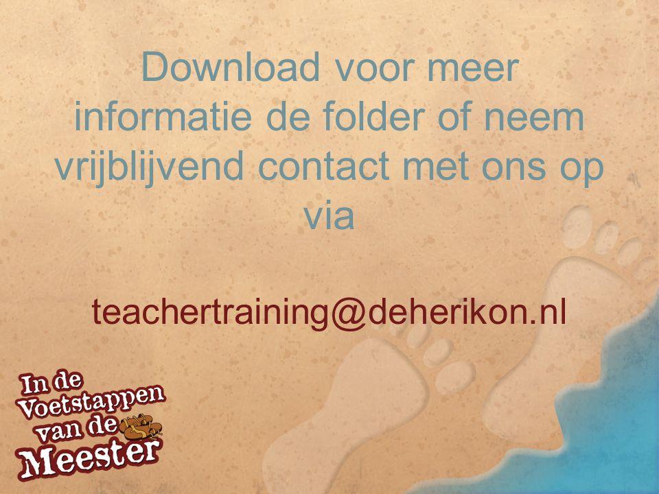 Download voor meer informatie de folder of neem vrijblijvend contact met ons op via teachertraining@deherikon.nl