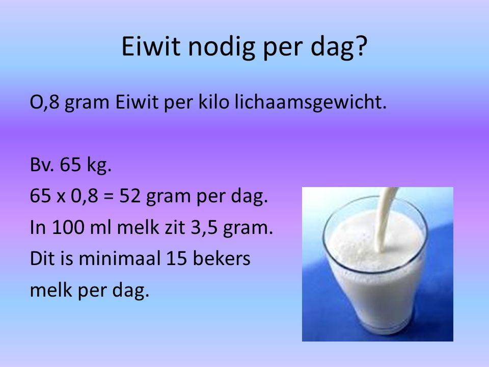 Eiwit nodig per dag? O,8 gram Eiwit per kilo lichaamsgewicht. Bv. 65 kg. 65 x 0,8 = 52 gram per dag. In 100 ml melk zit 3,5 gram. Dit is minimaal 15 b