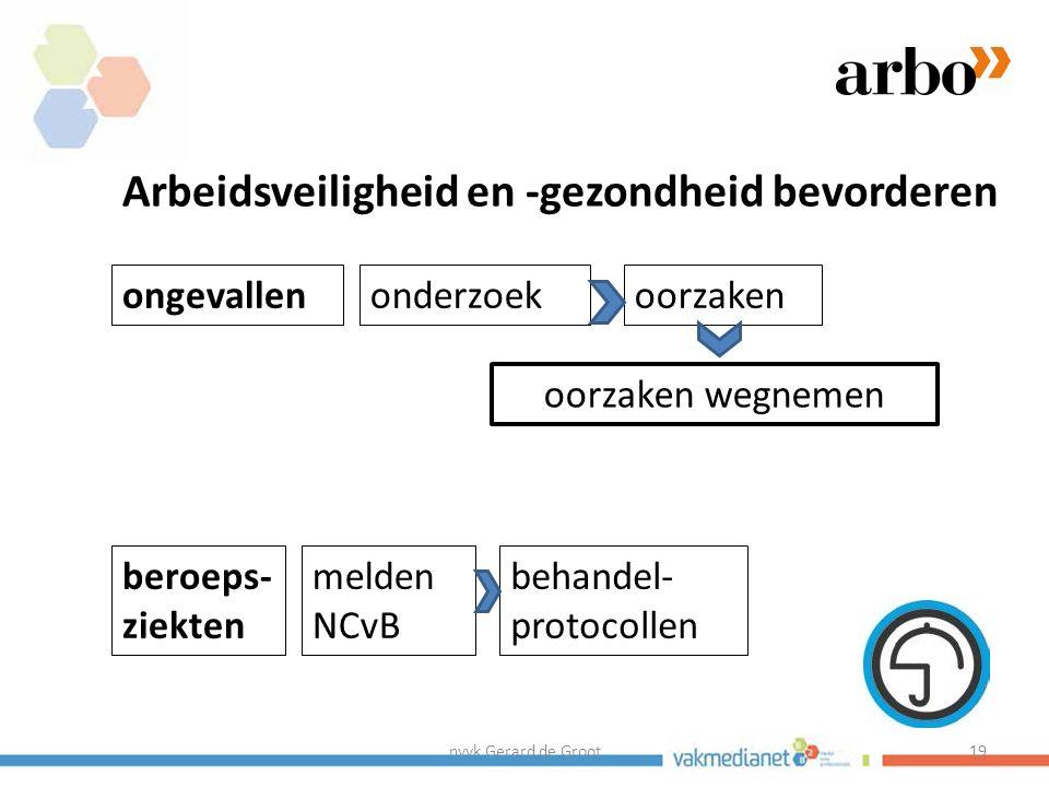 nvvk Gerard de Groot19 ongevallen Arbeidsveiligheid en -gezondheid bevorderen beroeps- ziekten onderzoekoorzaken oorzaken wegnemen melden NCvB behandel- protocollen