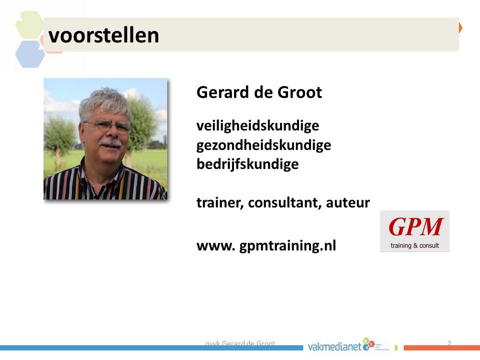 nvvk Gerard de Groot3 voorstellen Gerard de Groot missie: kwaliteit van werk en preventie serieus nemen: -beroepsopleidingen preventiekundige/ veiligheidskundigen -meer output professionals